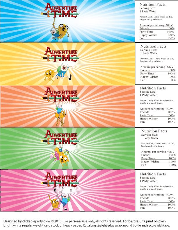 Adventure Time! Free Printable Party | Clickable Party | Party ...