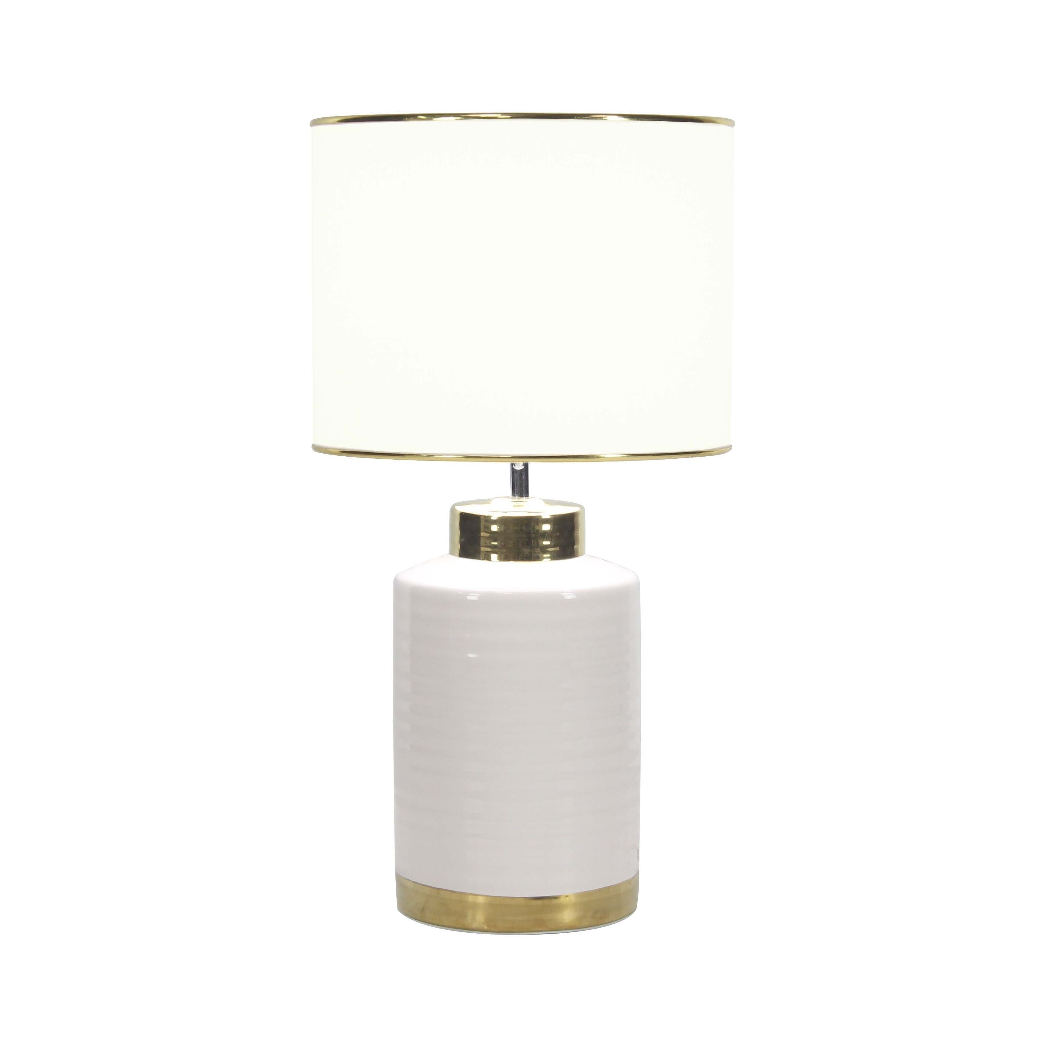 Large Contemporary Style Round White Gold Ceramic Table Lamp