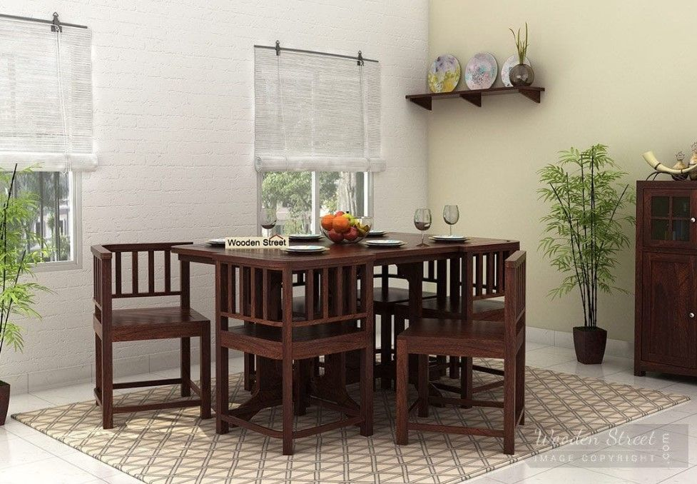 Cohoon 6 Seater Dining Set Walnut Finish Online In
