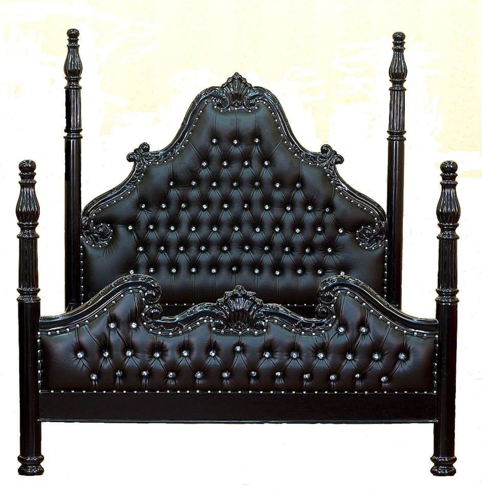 Luxury Poster Beds french louis xvi 4 poster bed black & crystals king size