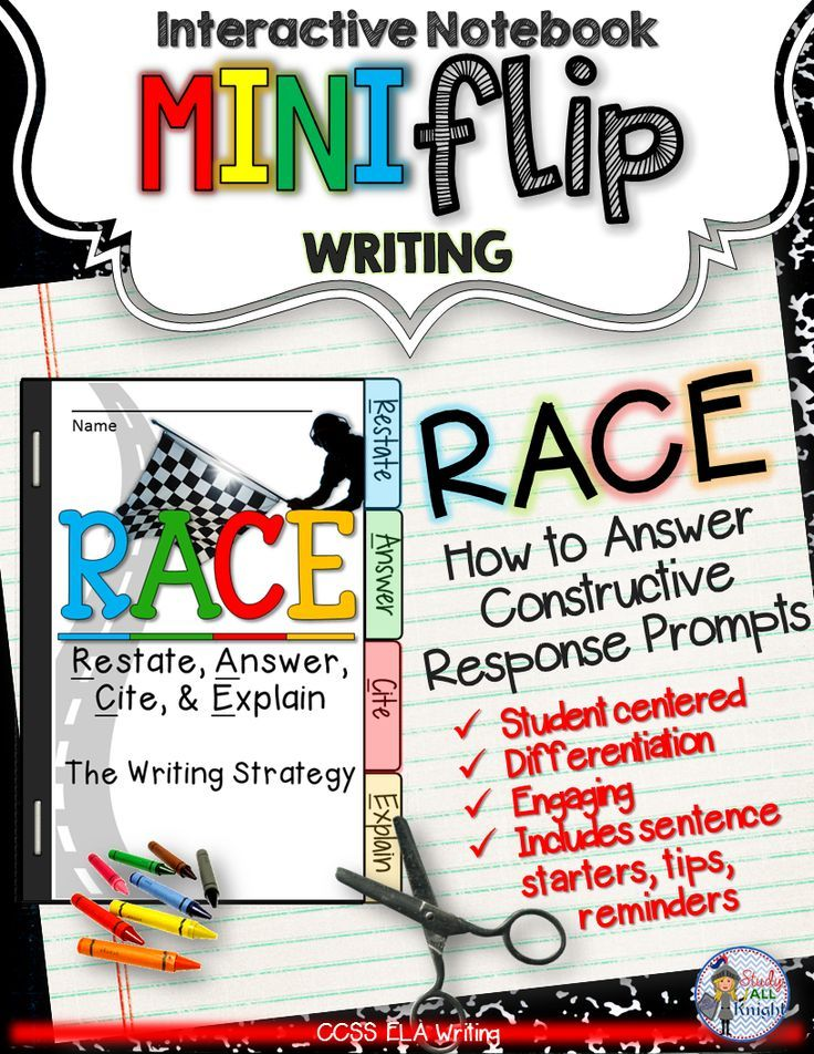 r a c e writing strategy interactive notebook mini flip writing  r a c e writing strategy interactive notebook mini flip