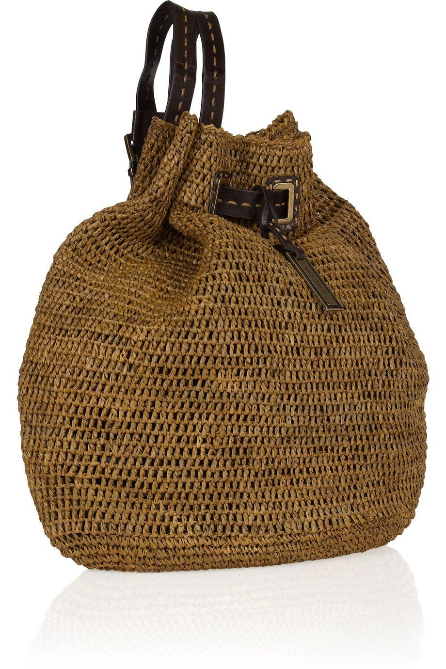 12139621f83c07 Michael Kors Santorini raffia and leather backpack | inside my dream ...