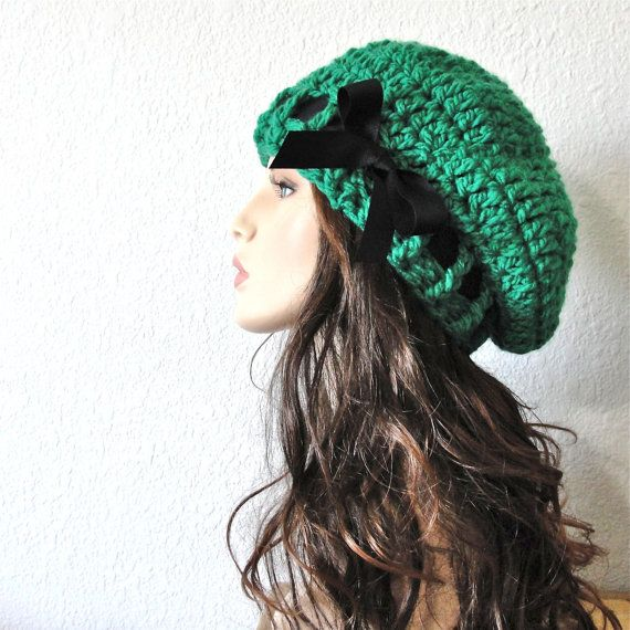 02189a5b965 Emerald Green Beret with Black Grosgrain Ribbon- so cute and in one of my  fav colors! Emerald Green Beret Hand Crocheted Slouchy Hat ...