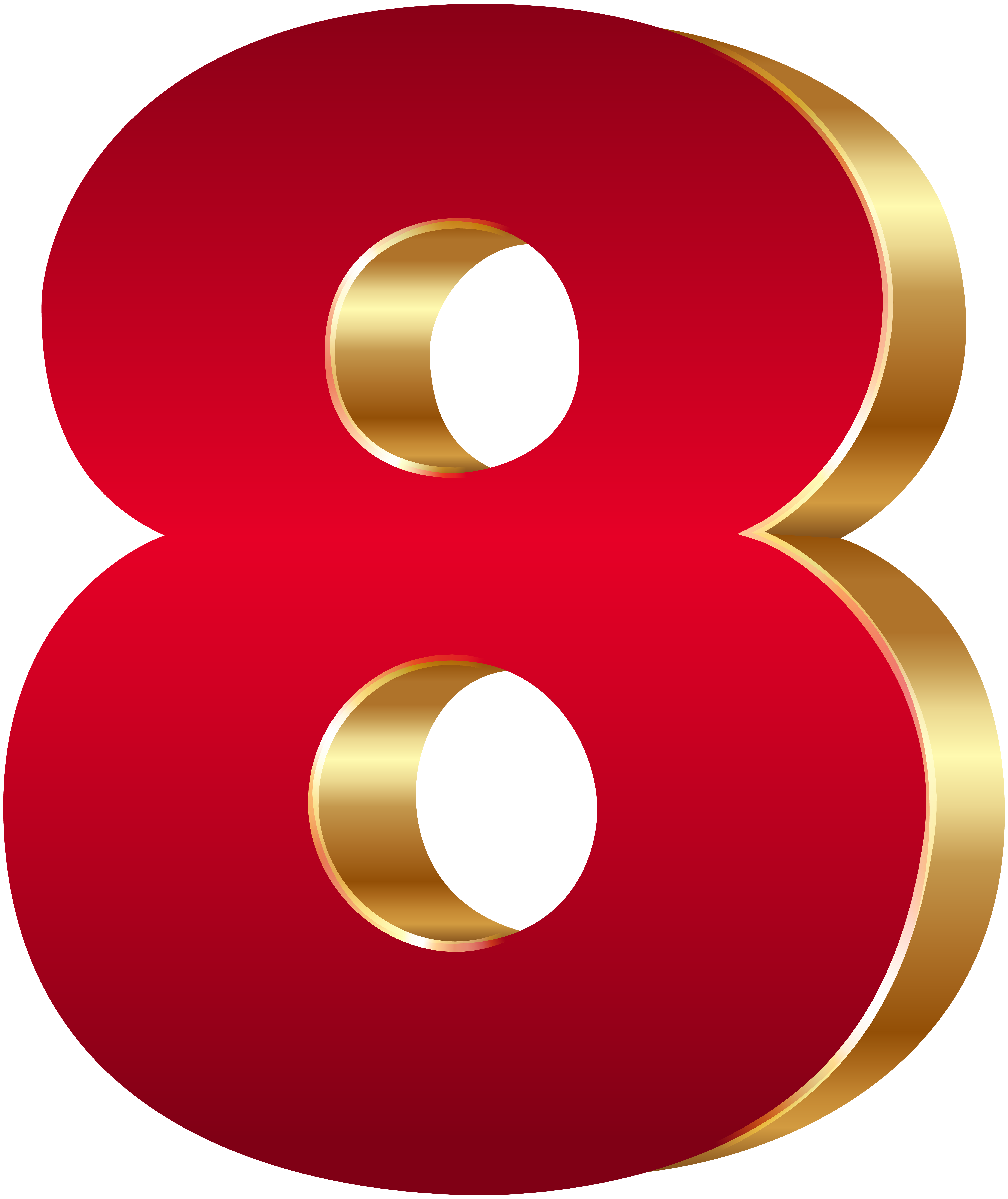 3D Number Eight Red Gold PNG Clip Art Image | Gallery ...