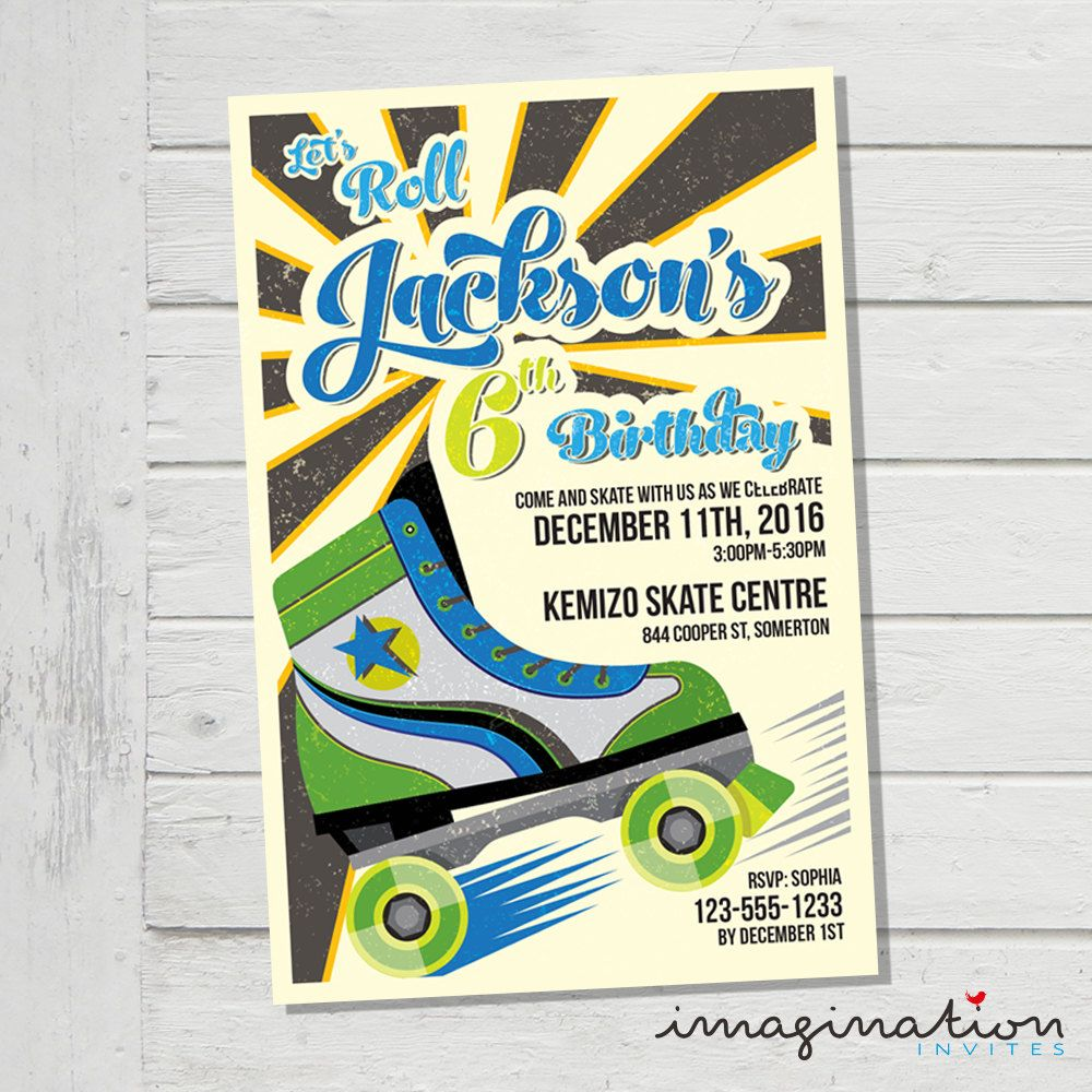 Roller Skate Invitation Roller Skating Boys Girls Birthday Party ...