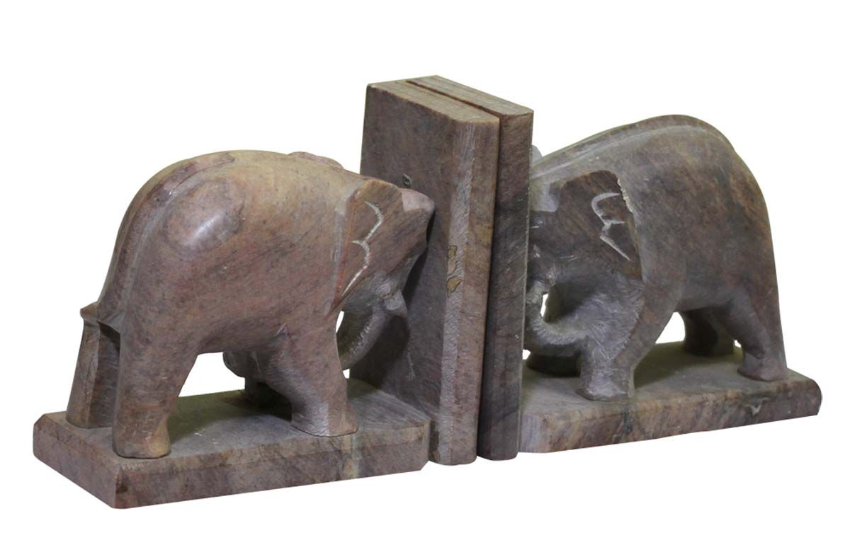 Bulk Wholesale Hand-Carved Pair of Bookends in Soapstone - Designed with Elephant Sculptures – Bookshelf Accessories