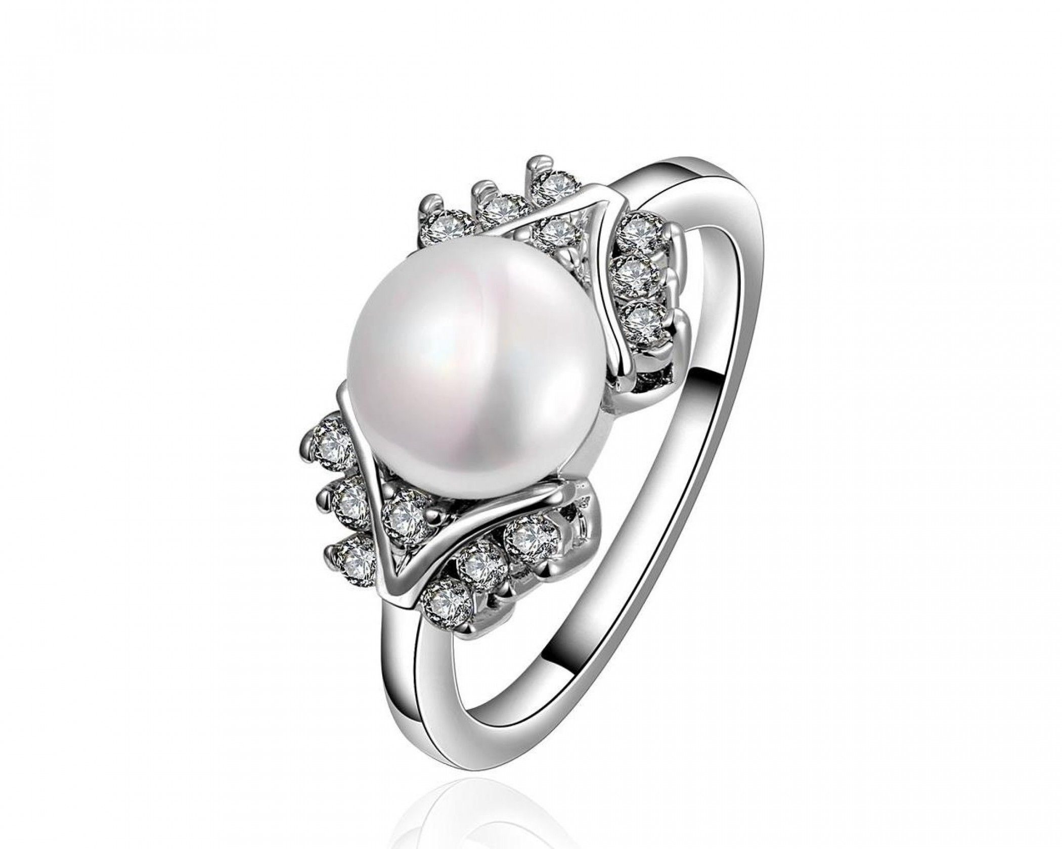White Gold Plated Cultured Pearl Orchid
