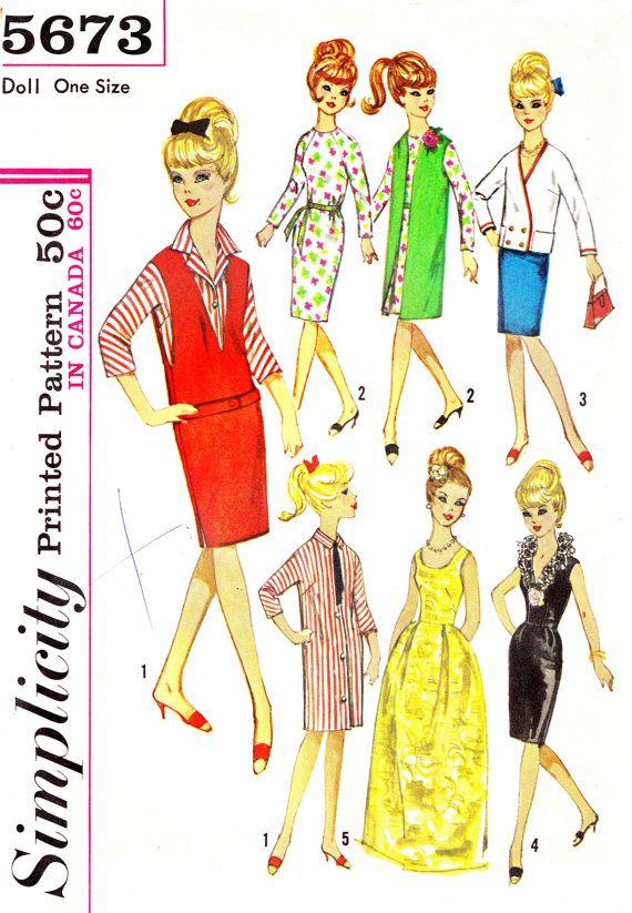 1960s Barbie Doll Wardrobe Vintage Sewing Pattern Dress Evening ...