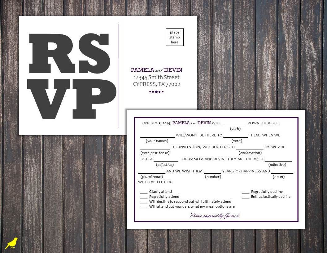 Postcard Rsvp Template Free Mad Libs  Sided  Google Search
