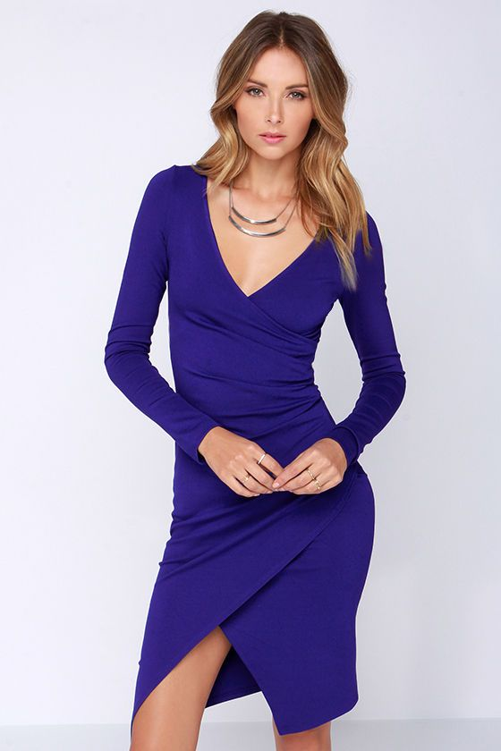 f76301aa38a1 LULUS Exclusive Shakedown Royal Blue Long Sleeve Midi Dress at Lulus.com --  Love this shade of blue