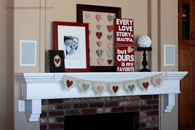 Valentine S Day Ideas Of Yore Landee See Landee Do Valentines Mantle Valentines Day Decorations Valentine Decorations