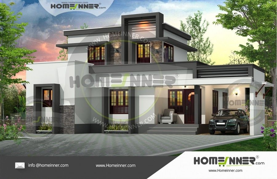 Beautiful 3 -bed Contemporary Home Part - 45: Beautiful 3 BHK Two Story House Design