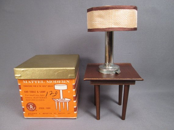 Vintage Mattel Modern Furniture End Table And Lamp In Box 1 6 Play Scale 1958 Modern Furniture Classic Furniture Danish Modern Furniture
