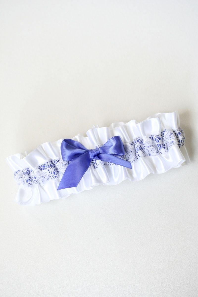 white lace and purple wedding garter - handmade bridal garter by The Garter Girl
