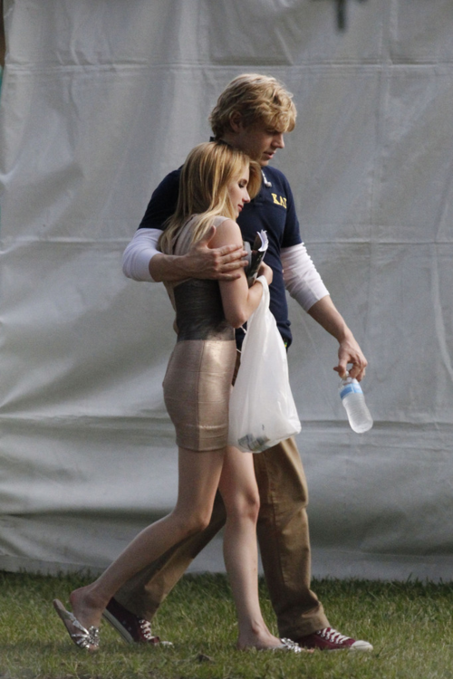 7/26/13:Emma Roberts and Evan Peters on set of '#AmericanHorrorStory' in New Orleans.