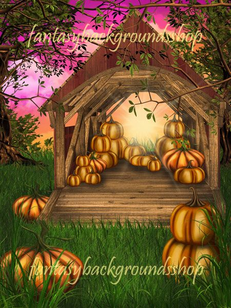 """Autumn Joy  $13.00  """"Autumn joy"""" is a collection of 10 fantasy backgrounds combined with 2D and 3D elements,   featuring fantasy farm with a barn, where you can find perfect pumpkins for perfect Halloween.    """"Autumn joy"""" backgrounds are high resolution JPEG files, size 3000x4000 pixels, 300 dpi."""