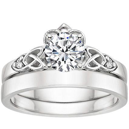 18k White Gold Celtic Claddagh Ring Celtic Wedding Rings Celtic Claddagh Ring Diamond Bridal Sets