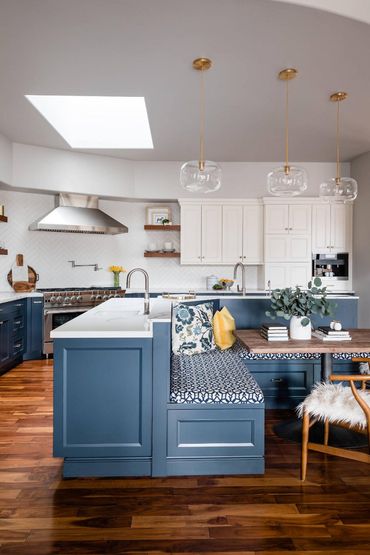 El Dorado Hills Brass & Navy - Transitional - Kitchen - Sacramento - by Precision Cabinetry and Design