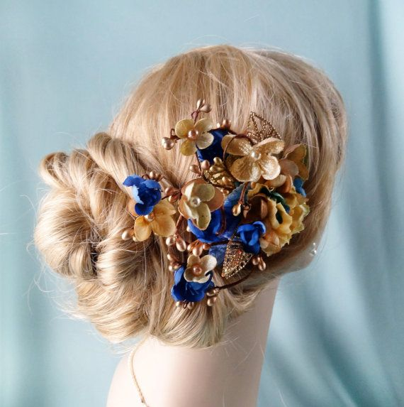 Royal Blue And Gold Flower Hair Accessory Bridal By Thehoneycomb