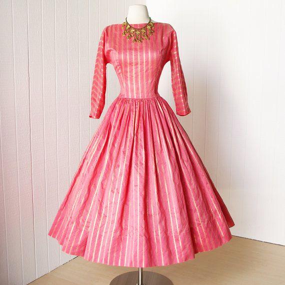 vintage 1950\'s dress ...unworn JERRY GILDEN coral and gold organza ...