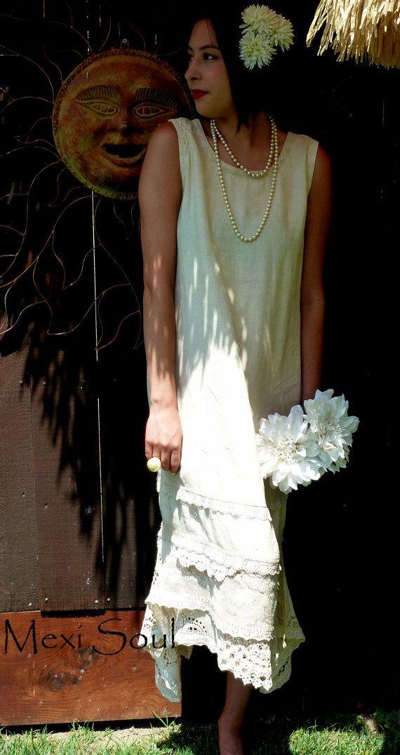 8dd0c6fba625 Antiqued Tea Length Wedding Dress, OOAK, 1920's Style Wedding Dress,  Alternative, Garden Wedding,Tattered, Tea Dyed