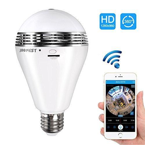 Panoramic Light Bulb WiFi 960p HD 360 Deg fisheye lens Night-Vision Hidden Cam