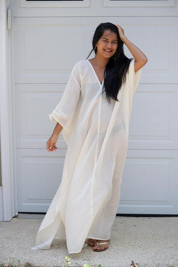 bad5813dda White Caftan Long Kaftan cotton GauzeLong Beach dress Beach Pool Party  Dresses, Dress Beach,