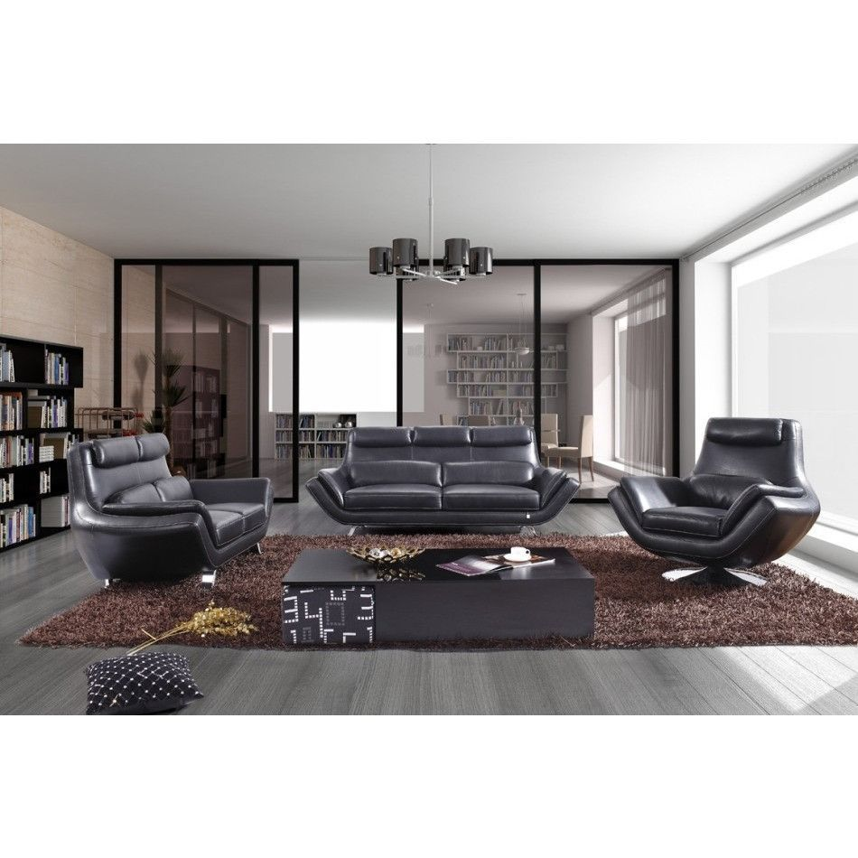 Best Divani Casa 9009 Modern Black Leather Sofa Set 400 x 300