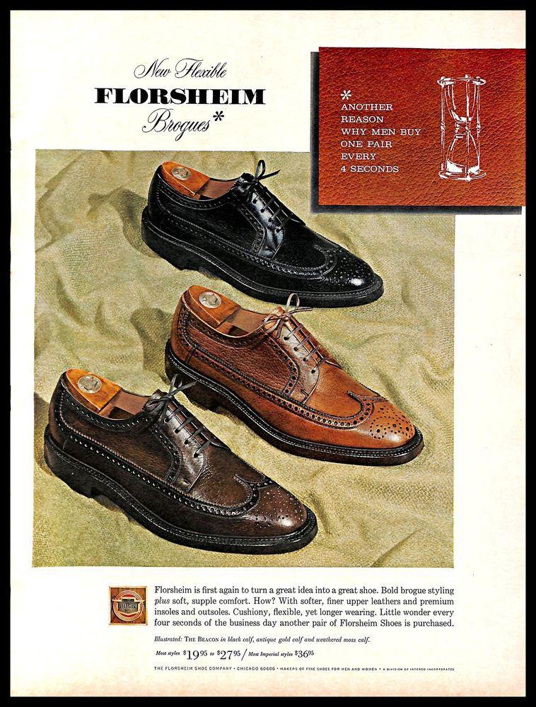 01dff90a0c6e8 1966 #Florsheim #Shoes #Vintage #PRINT #AD #Leather #Brogues Men's ...