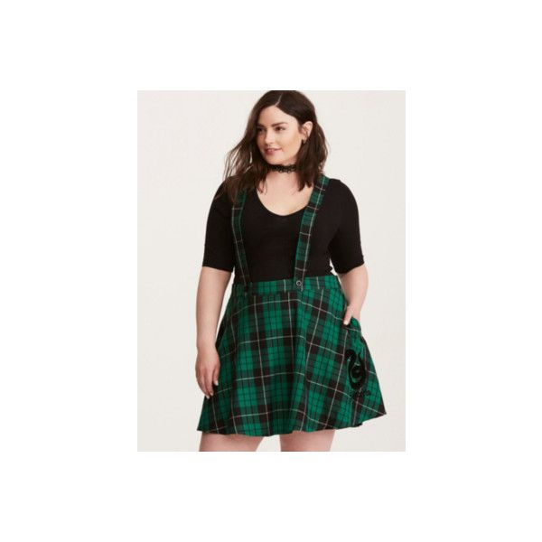 51f3a130b33 Torrid Harry Potter Slytherin Suspender Skirt ( 49) ❤ liked on Polyvore  featuring skirts