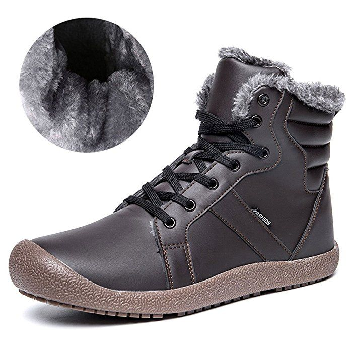 1a7e702a7 CIOR Men and Women Leather Snow Boots Fur Lined Winter Outdoor Slip ...