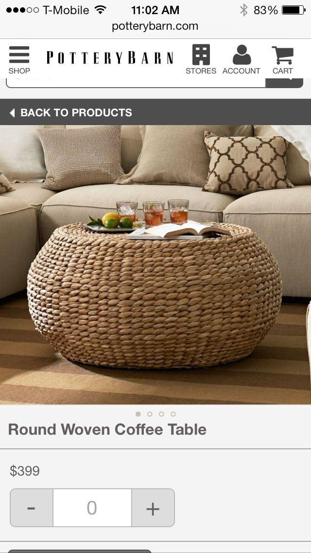 Pottery Barn Round Woven Coffee Table Coffee Table
