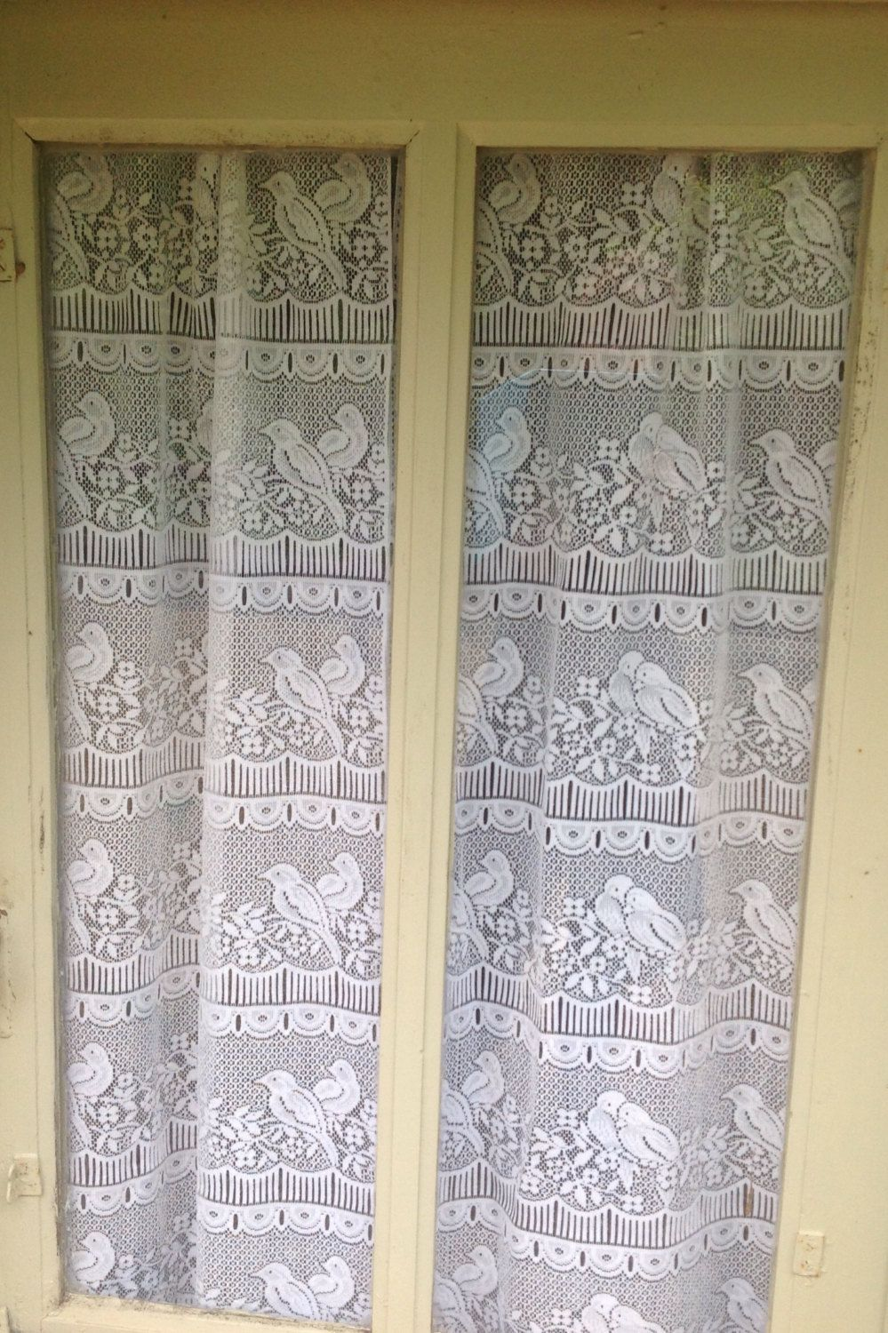 FREE SHIPPING Two Identical, French, Panel, Country Curtains. Machine Filet  Lace With