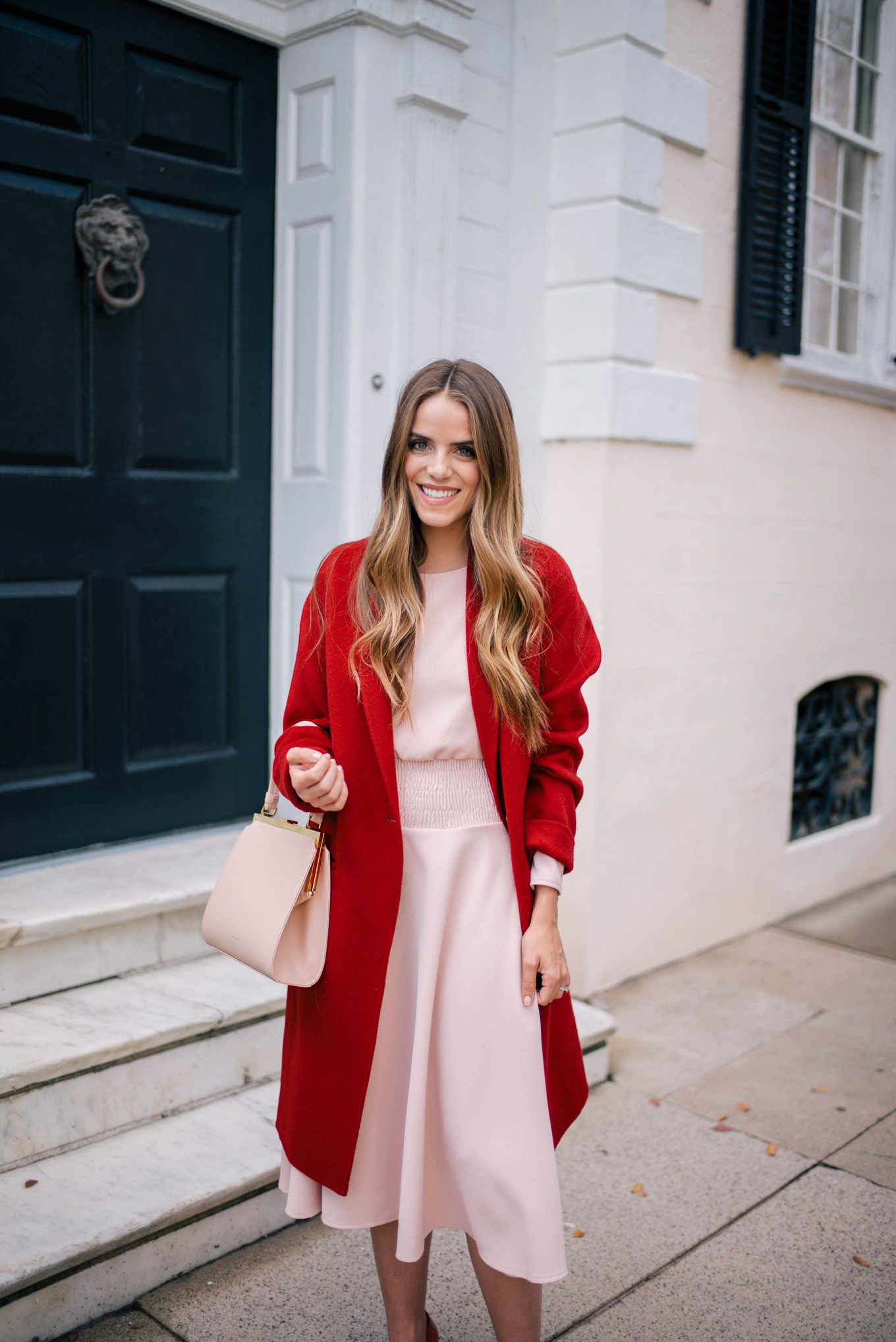 Gal Meets Glam Blush Pink Dress Red Coat Maje Vince Mansur Gavriel Bag