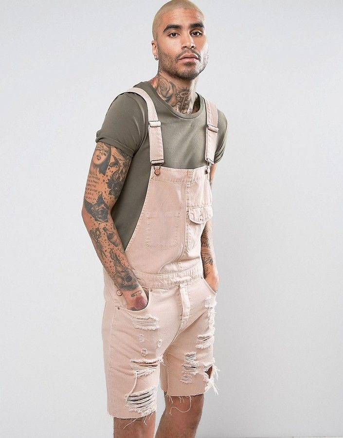 5769c9af73f4 ASOS Short Denim Overalls In Pink With Mega Rips | Shorts for Men in ...
