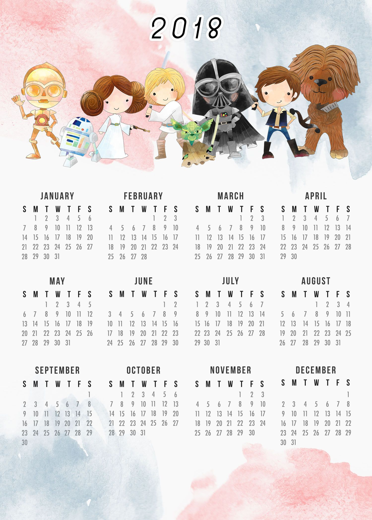 Free Printable Star Wars Calendar One Page Original Trilogy