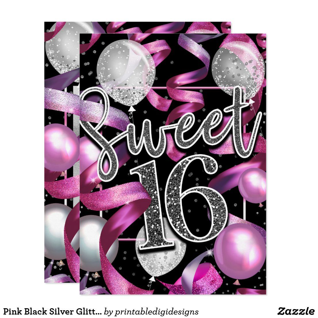 Pink Black Silver Glitter Sweet 16 Birthday Party