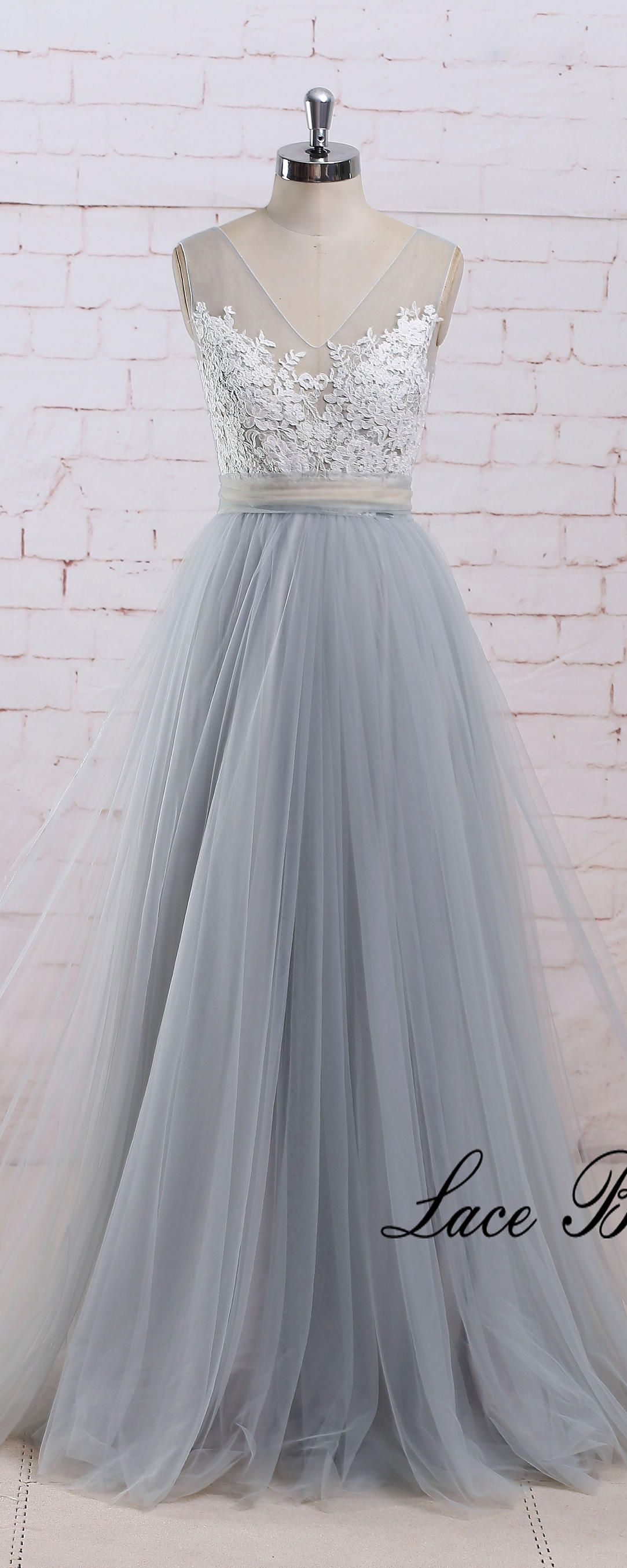 Romantic dusty blue a line tulle lace wedding dress with deep v