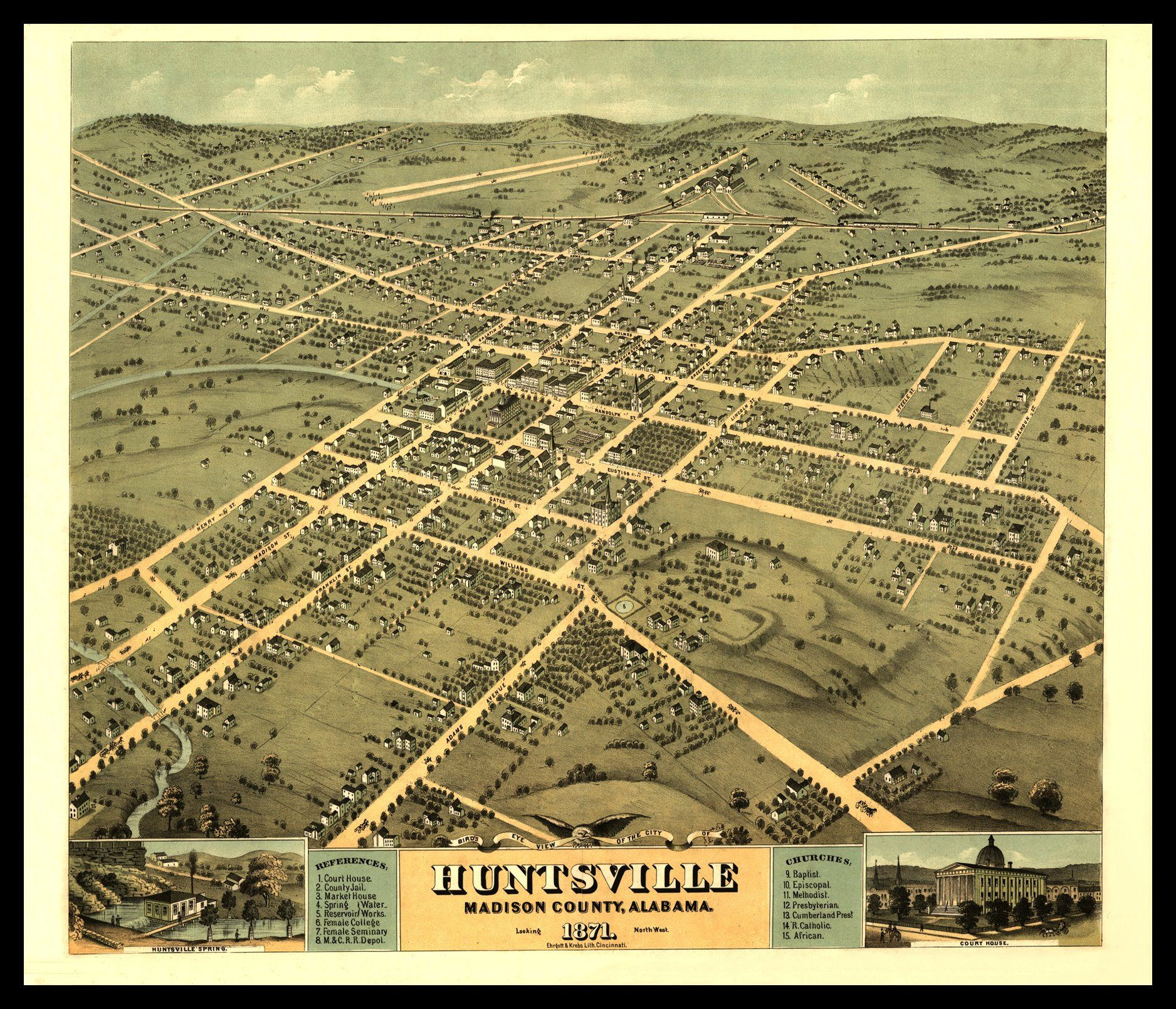 Huntsville Al 1871 Shown With Frame Only For Display Print Etsy Panoramic Map Huntsville Birds Eye View Map