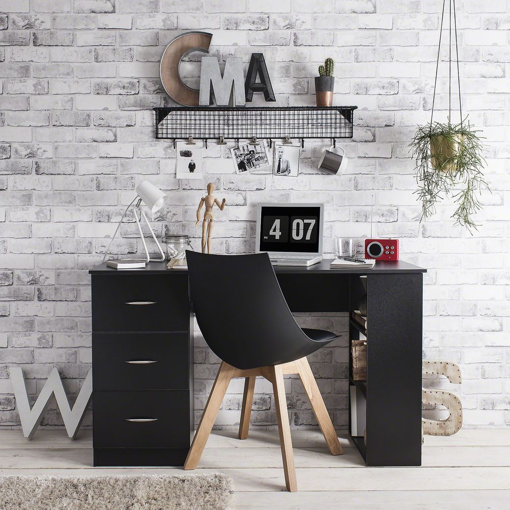 Details About Computer Desk Workstation - 3 Drawers