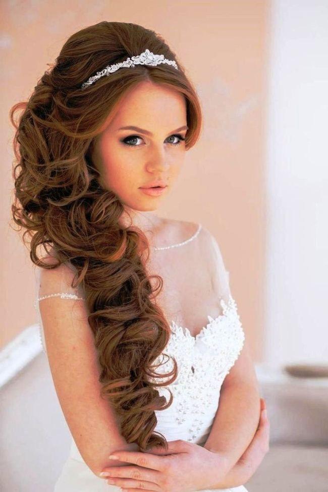 Vintage Hochzeit Hochsteckfrisuren für langes Haar mit Schleier und ...