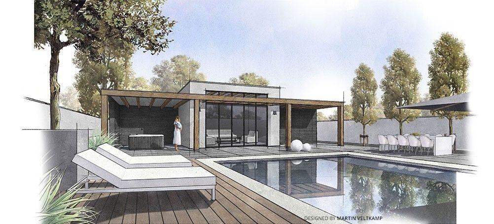 Brede moderne tuinkamer complete buitenkeuken met dichte of open pergola www - Moderne landschapsarchitectuur ...