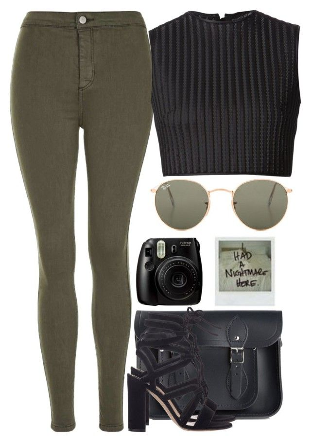 """Style xx"" by eduardacardoso1999 ❤ liked on Polyvore featuring The Cambridge Satchel Company, Topshop, Gianvito Rossi, David Koma, Polaroid, Fujifilm and Ray-Ban"