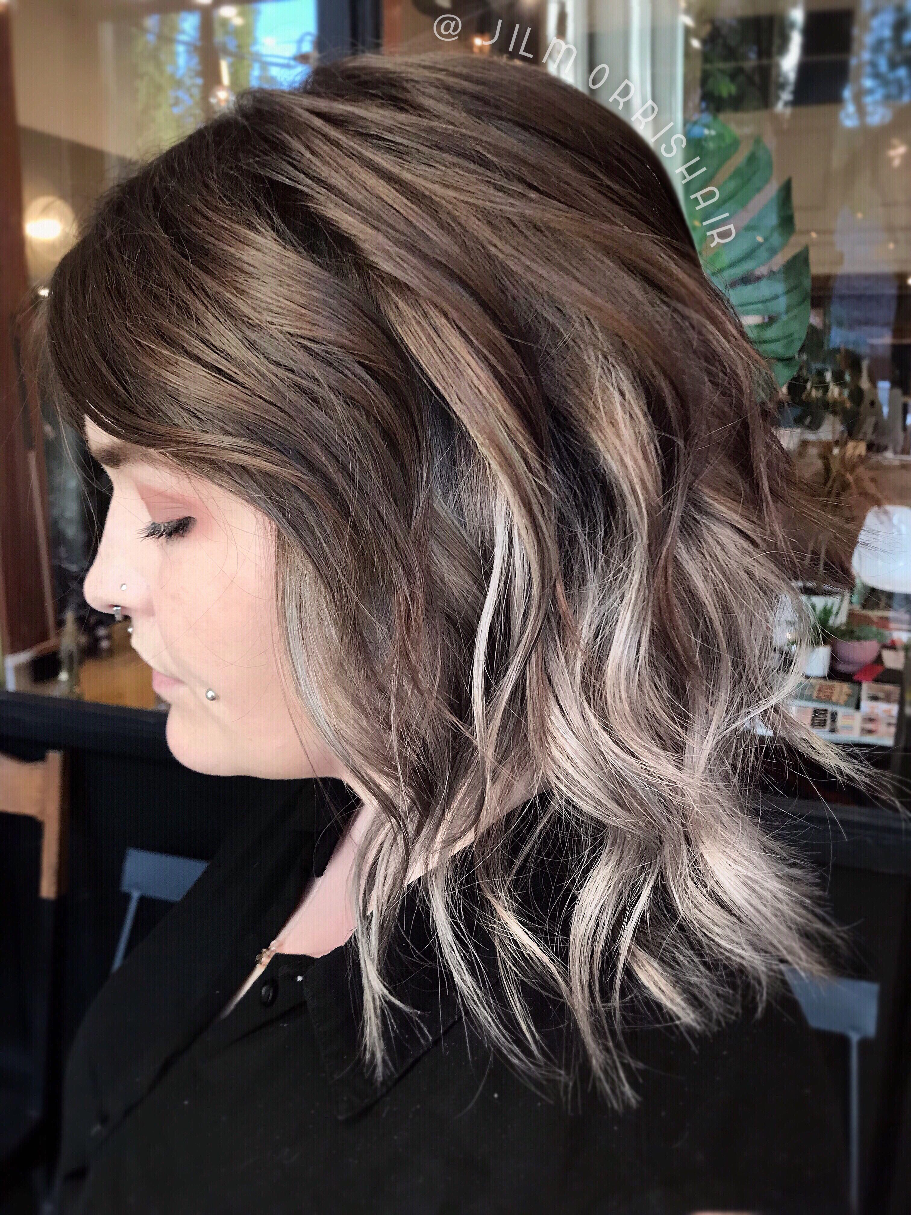 Warm Grey Highlights Blonde Peekaboo Highlights Peekaboo Highlights Balayage Hair Grey