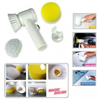 Electric Magic Home Clean Brush 5 In 1 Kit White Cleaning See