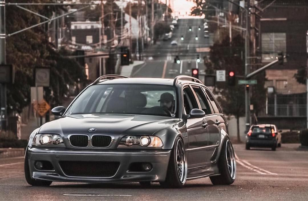 Bmw E46 3 Series Touring Grey Stance With Images Bmw Wagon