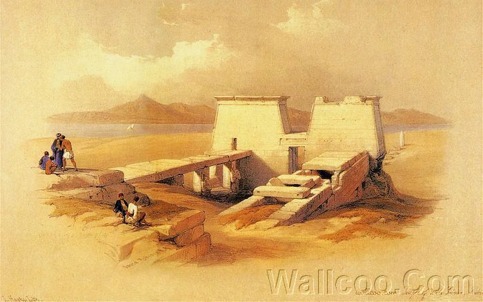 David Roberts Paintings : The Ancient Egpyt and Egyptian Architectures (Vol.02)  - Ancient Egyptian Temple : Temple Of Wady Sabua, 1838  10