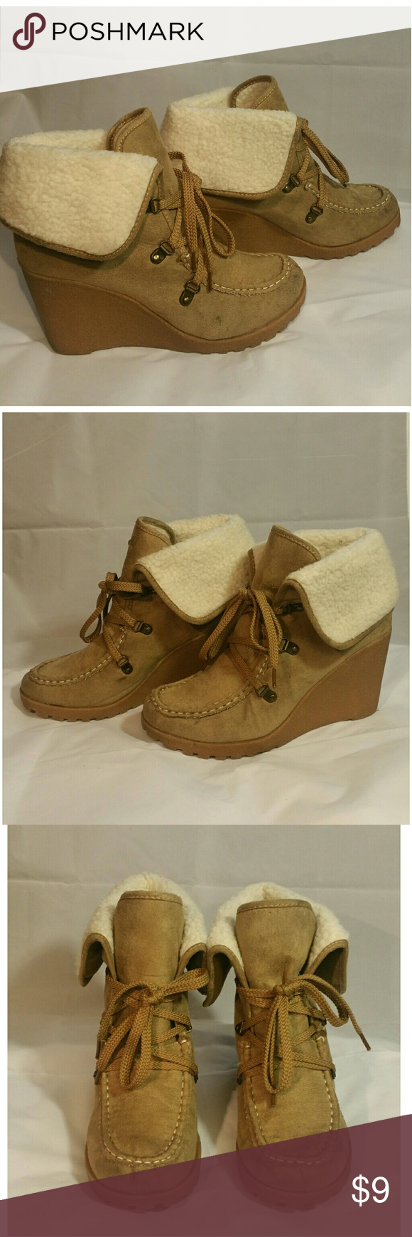 400a018b192a Unionbay Wedge Booties Preowned beige Unionbay wedge booties Size 9 1 2  UNIONBAY Shoes Ankle Boots   Booties