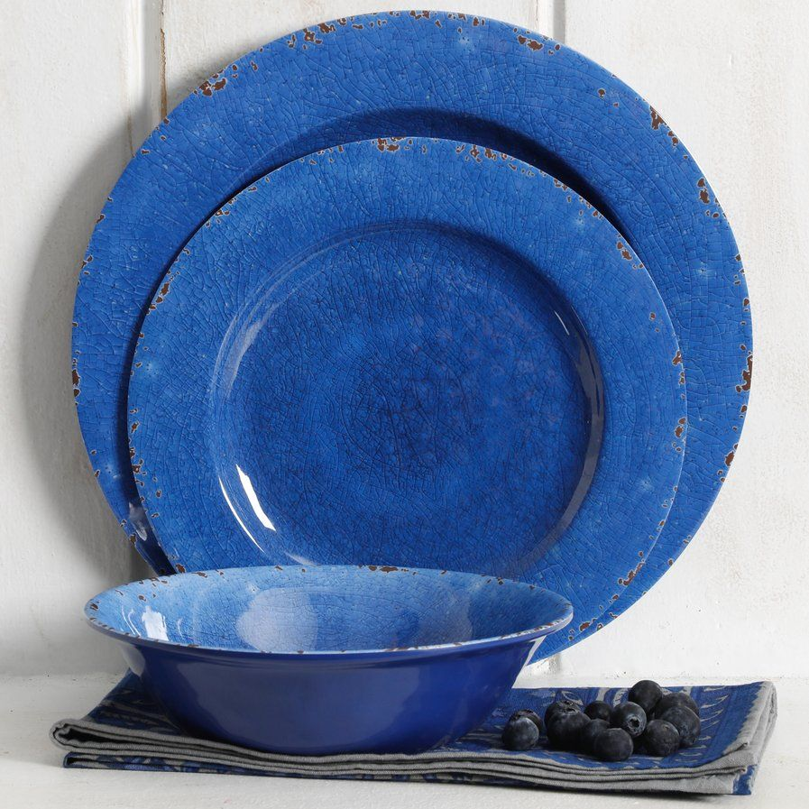 Cobalt Blue 12-Piece Dish Crackle Design Dinnerware Set Break Resistant Dishes
