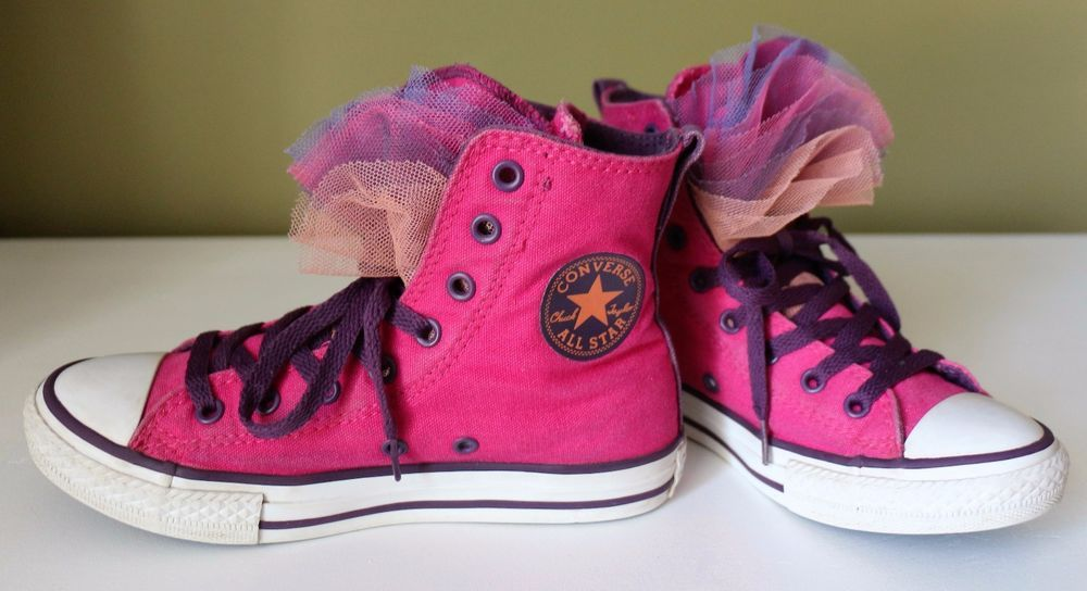 0b79a6368dfb Youth Girl s 2 CONVERSE ALL STAR Junior Ruffled Tongue HIGH TOPS Pink  Purple…